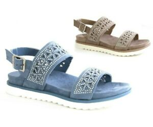 Ladies Womens Low Wedge Soft Comfort Sling Back Summer Sandals Shoes Size New