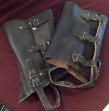 Vintage Steampunk Military Black Leather Gaiters / Spats