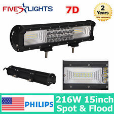 216W 15INCH 7D PHILIPS LED Work Light Bar Offroad Driving Tri Row COMBO 14/16/20