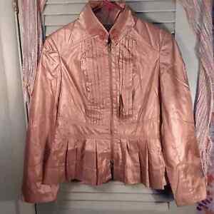 Emil Rutenberg Collection women's pleated zipper front peplum jacket sz Large