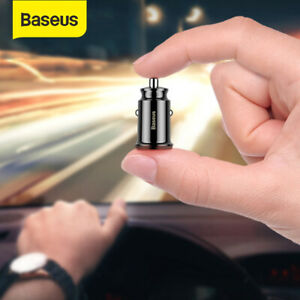 Baseus Mini Car Charger 3.1A Dual USB Power Adapter for iPhone Samsung Black