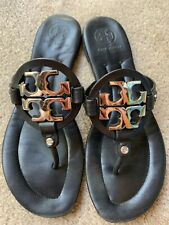Tory Burch Miller 2 Black Leather Millers Flip Flops Sandals Shoes 9.5 M