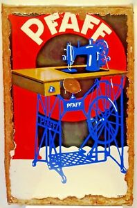 PFAFF SEWING MACHINE SIGN GERMANY VINTAGE PORCELAIN ENAMEL COLLECTIBLES ADVER#2