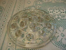 """Vintage Round Clear Glass 5"""" Flower Frog / Paperweight / 16 Holes"""