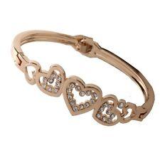 Fashion Women Love Heart Charm Bracelet Lady Gold Plated Crystal Cuff Bangle New