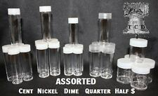 100 Assorted Coin Tubes Round BCW Clear Plastic Dime to Half Dollar Tube NEW