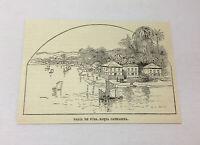 1885 magazine engraving ~ PRAIA DE FORA, SANTA CATHARINA Brazil