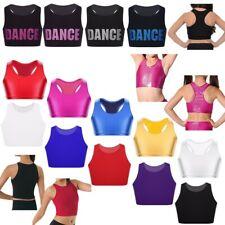 Girls Gymnastics Dance Crop Top Kids Sport Bra Tops Training Workout Costumes