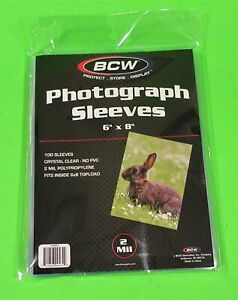 100 6x8 PHOTO SLEEVES-CRYSTAL CLEAR-ARCHIVAL SAFE-ACID FREE-2 MIL THICK- BY BCW