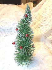"12"" Green Bottle Brush Flocked Christmas Tree Red Balls Flocked Sisal Spiral"