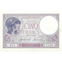 1918 France 5 Francs Pick # 72a - Very Nice High Grade Circ Banknote! -d938qcut