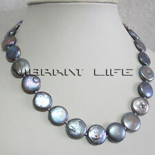 "18"" 13-14mm Dark Gray Coin Freshwater Pearl Necklace Strand Jewelry UE"