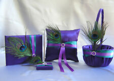 Peacock Feather Purple Teal Flower Girl Basket Ring Beare Pillow Guest Book Pen