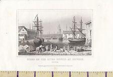 C1815 Antiguo Pequeño georgiano impresión ~ río Orwell en Ipswich Puerto Barcos