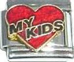 Italian Charm Love red heart my Kids Family Children