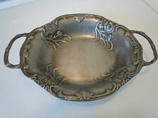 ANTIQUE ORNATE FOOTED PEWTER DISH TRAY ETAIN TIN RIO FAIT MAIN HANDWERK HANDMADE