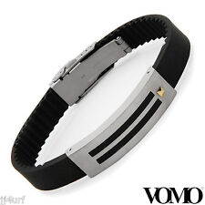 VOMO Black Rubber Bracelet in StSl with Resin and 18K Gold Inlay, 9 Inch, Italy