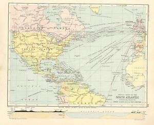 1891 VICTORIAN MAP ~ NORTH ATLANTIC ~ STEAMER ROUTES & CONNECTIONS BRITISH ISLES