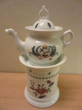 Vintage Porcelain De Paris France Decor Pavot Teapot on warming pedestal stand