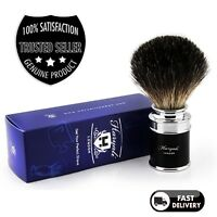 Men's 100%BLACK Badger Hair Shaving Brush in BLACK Handle Made in England
