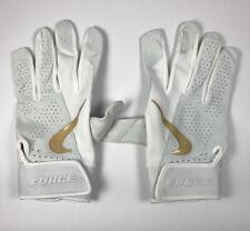 Nike White and Gold Force Elite Batting Gloves XL