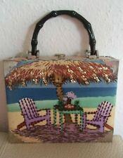 Unikat Handtasche aus Holz, Metall, Stoff Zigarrenkiste Pailletten Handarbeit