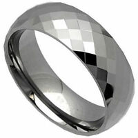 High Polished Tungsten Carbide Faceted RING BAND, sizes 7, 8, 9, 10, 11, 12, 13