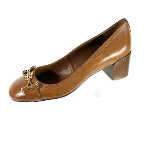 Tory Burch Pumps Brown Leather Gold Logo 6.5 M