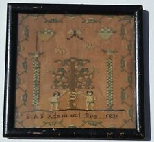 ANTIQUE 1831 SAS 'ADAM & EVE' NEEDLEWORK SAMPLER