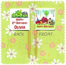 20 PERSONALISED ANGRY BIRDS CUP CAKE FLAG Topper Decoration Birthday Party