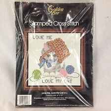 Golden Bee Love Me, Love My Cat Stamped Cross Stitch Kit NIP 1983