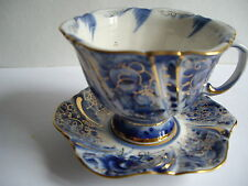 Tea cup and saucer Russian Gzhel porcelain hand painted