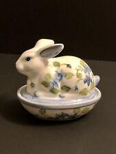 Andrea By Sadek Floral Bunny Rabbit Candy Trinket Dish Bowl