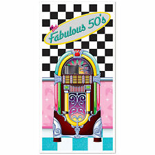 ROCK & ROLL DOOR COVER POSTER BANNER SIGN JUKEBOX FABULOUS 50'S PARTY DECORATION