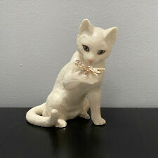 Lenox  00006000 Curious Encounter Cat Kitty with Dragonfly Sculpture Figurine 6in with Coa