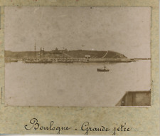France, Boulogne, la grande jetée  vintage albumen print, Tirage albuminé