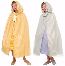 """Girls Hooded Cape Silver or Gold 44"""" Halloween Costume Princess Child Queen Kids"""