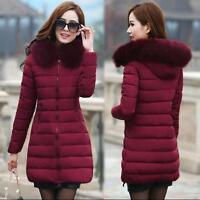 Hot Sale Women's Winter Down Cotton Parka Long Fur Collar Hooded Coat Jackets