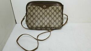 Gucci Vintage GG Monogram Supreme Canvas Leather Crossbody Bag