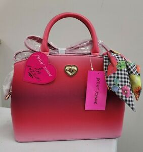 Betsey Johnson XOGIGI Satchel Purse Handbag with Scarf Red Floral NWT