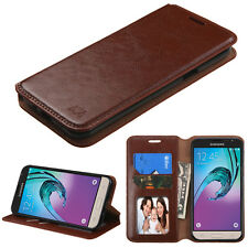 NEW FOR Samsung Galaxy J3 Emerge / J3 2017 PHONE BROWN WALLET LEATHER COVER CASE