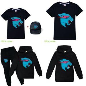 New Kids Boys Girls Mr Beast Lightning Cat Cotton T-shirt Hoodie Jumper Tops