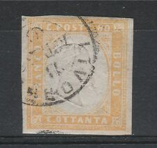FRANCOBOLLI 1860 SARDEGNA 80 C. GIALLO ARANCIO CHIARO Z/513