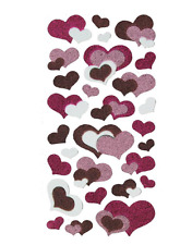 Glitter Shimmer Heart Stickers Various Sizes Love Decorations Scrapbooking Craft