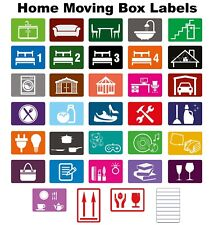Maison Déménagement Couleur Classement Boite Étiquettes / Stickers - Organise