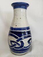 """Studio Art Pottery Salt Glazed Vase Blue Celtic Design 8"""" Hand Craft Signed Wood"""