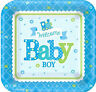 WELCOME BABY BOY baby shower cake dessert blue PAPER PLATES 8pc 7 inch