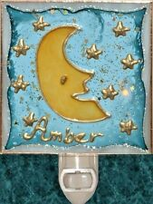 Personalize Moon Star Night Light Wall Plug In Stain Art Glass Nursery Kids Gift