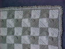 Boys and girls Beautiful new hand knitted pram blanket grey and white
