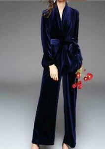 Womens Suit Belt Slim Fit Coat Velvet Party Prom 2pcs Jackets Tops Pants OL Lady